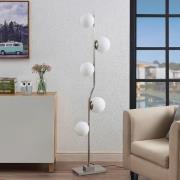 Lindby Avalyn golvlampa, vit, satinerad nickel